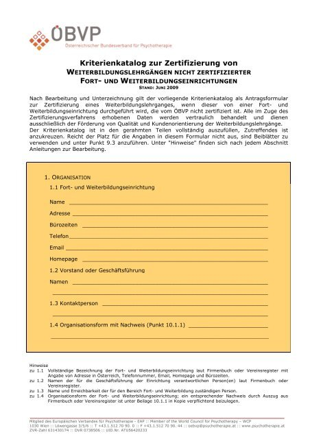 Kriterienkatalog für WB-Lehrgang einer nicht-zertifizierten WB