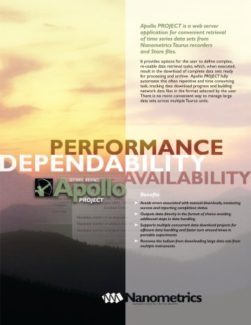 Benefits Apollo PROJECT is a web server application for ... - SisMob
