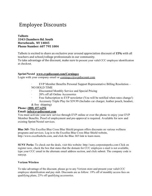 See full list of Employee Discounts - Corning Community College