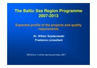The Baltic Sea Region Programme 2007-2013 - Seagull II