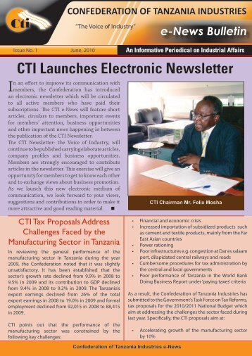 CTI_E-NewsFlash.2010 - Confederation of Tanzania Industries