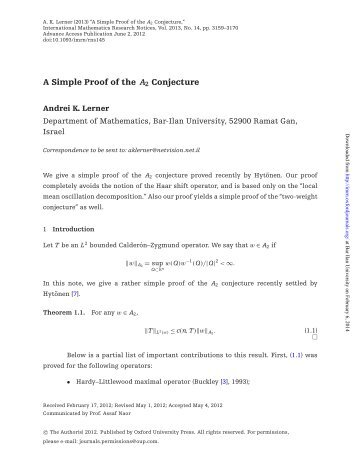 A SIMPLE PROOF OF THE A2 CONJECTURE 1. Introduction Let T ...