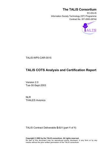 TALIS WP2 Specification - EUROCONTROL Experimental Centre