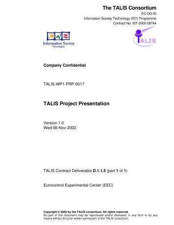 TALIS Project Presentation - EUROCONTROL Experimental Centre