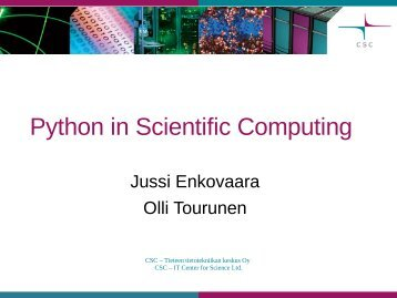 Python in Scientific Computing - CSC