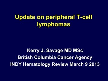 Update on the therapy of peripheral T-cell lymphomas
