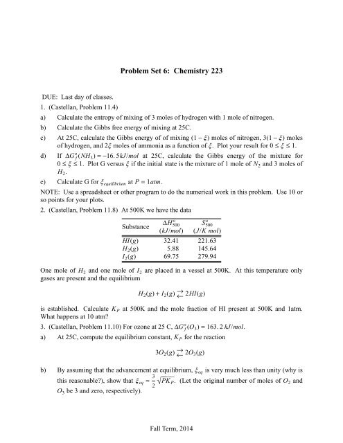 Problem Set 6: Chemistry 223