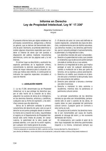 Informe en Derecho Ley de Propiedad Intelectual, Ley N° 17.336*
