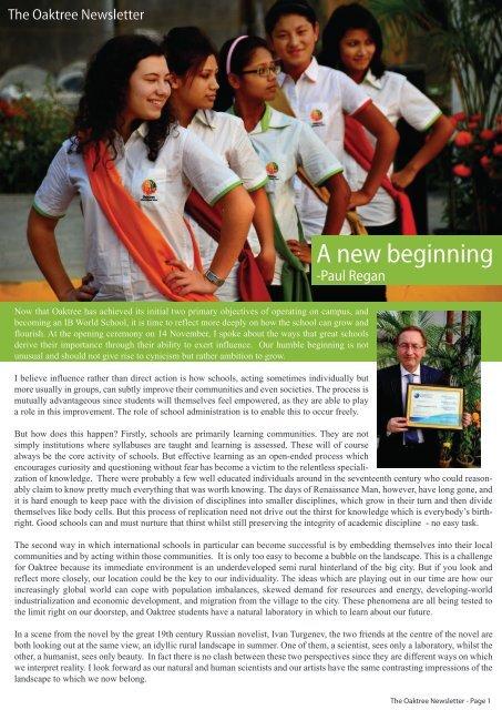 November 2011 - Oaktree International School