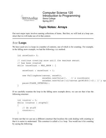 Topic Notes: Arrays - Courses