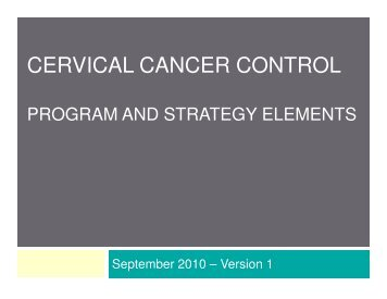 CERVICAL CANCER CONTROL - cancerview.ca