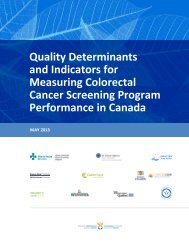 Quality Determinants and Indicators for Measuring ... - cancerview.ca