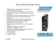 SMLC PROFIBUS DP Master Tutorial - Ormec