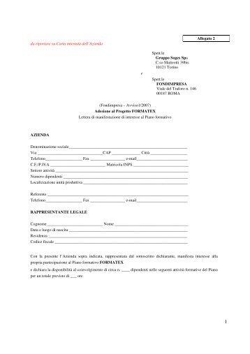 Allegato 2 da riportare su Carta intestata dell'Azienda ... - Città Studi