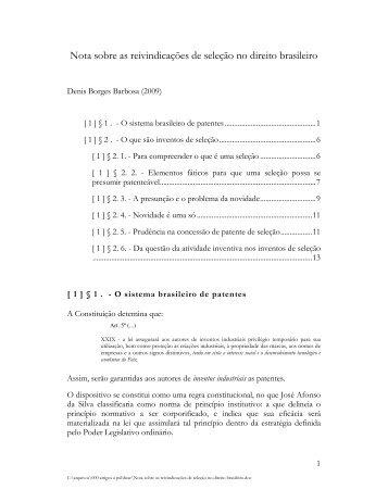 Nota sobre as reivindicações de seleção no direito brasileiro