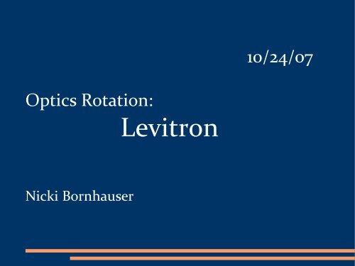 Levitron - Ultracold Atomic Physics