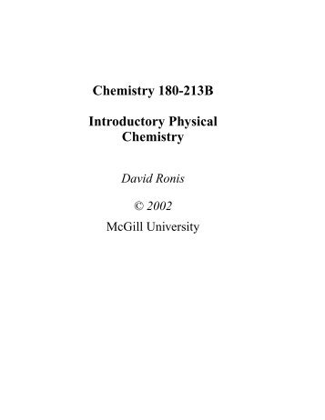 Chemistry 180-213B Introductory Physical ... - McGill University