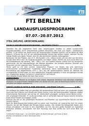 FTI Berlin Landausflugsprogramm Route APOLLON 07 ... - FTI Cruises