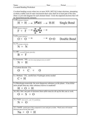 Worksheet 11 On Characteristics Of Types Of Bonds Date ______ Ionic Or Covalent Worksheet Types Of Chemical Bonds Worksheet Colina Middle School