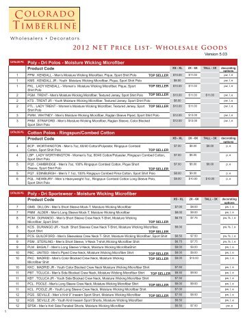 2012 NET Price List- Wholesale Goods - Colorado Timberline