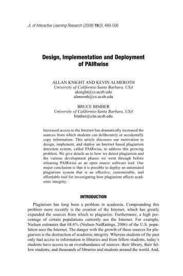 Design, Implementation and Deployment of PAIRwise - NMSL
