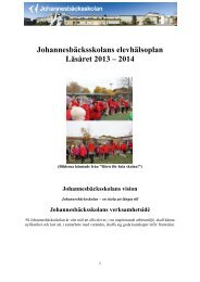 Johannesbäcksskolans elevhälsoplan Läsåret 2013 – 2014