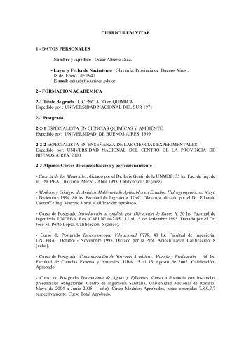 Curriculum Vitae - Facultad de Ingeniería - Universidad Nacional del ...