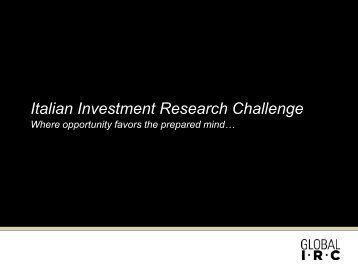 Italian Investment Research Challenge - CFA Society Italy