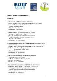 Eiszeit-Touren und Termine 2013 - EiszeitQuell