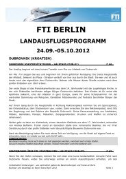 Landausflugsprogramm FTI Berlin Roure  NIKE 24.09 ... - FTI Cruises