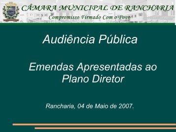 Apresentação da Audiência Pública ao Plano Diretor Clique Aqui!