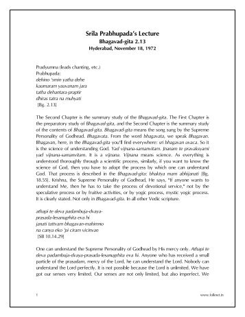 Srila Prabhupada's Lecture - FOLKNet