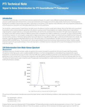 Signal to Noise Determination for PTI QuantaMaster™ Fluorometer