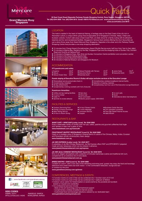 Download our hotel quick facts sheet here. - Grand Mercure Roxy