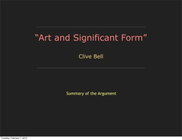 Art and Significant Form — Essentialism - Timothy R. Quigley