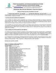 PROCESSO SELETIVO DE PROVAS E TÍTULOS Nº 06/2010 - Peruíbe