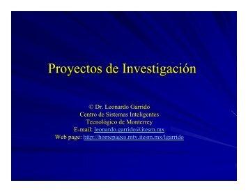 Proyectos de Investigación - Homepages - Tecnológico de Monterrey