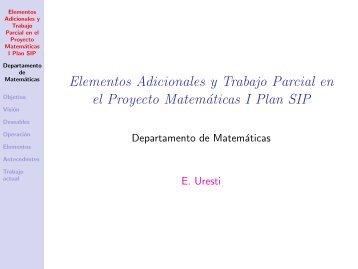 Matemáticas I, plan SIP - Homepages