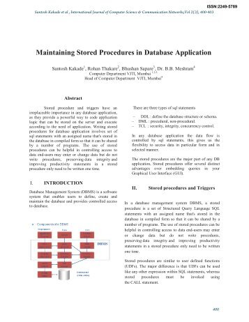 Maintaining Stored Procedures in Database Application
