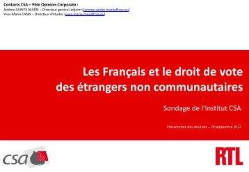 Les Français et le droit de vote des étrangers non ... - RTL