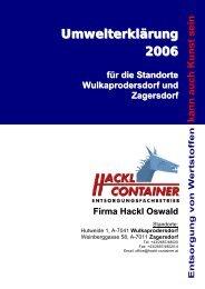 Umwelterklärung 2006 - Hackl Container
