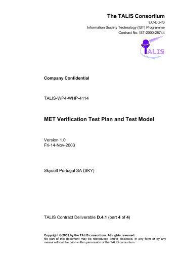 MET Verification Test Plan - TALIS - EUROCONTROL Experimental ...