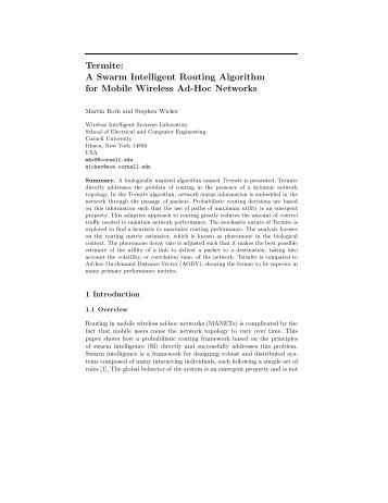 A Swarm Intelligent Routing Algorithm for Mobile Wireless Ad-Hoc ...