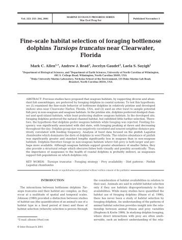 Fine-scale habitat selection of foraging bottlenose dolphins Tursiops ...