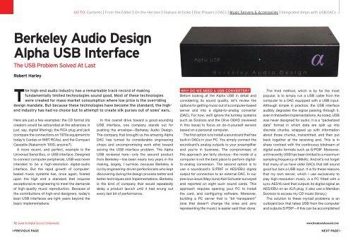 Berkeley Audio Design Alpha USB Interface - Son et image
