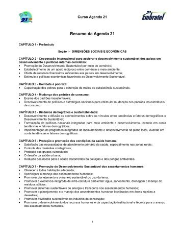 Resumo da Agenda 21 - Instituto Embratel