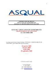 21 janvier 2009 26 mars 2009 4 juin 2009 29 septembre ... - Asqual