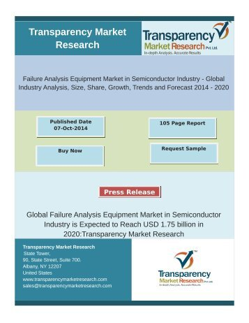 Failure Analysis Equipment Market in Semiconductor Industry - Global Industry Analysis, Size, Share, Growth, Trends and Forecast 2014 - 2020