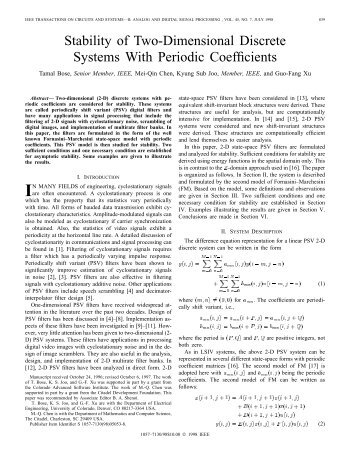 Stability Of Two-dimensional Discrete Systems With ... - IEEE Xplore