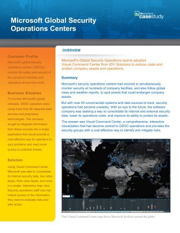 Microsoft Global Security Operations Centers - IDV Solutions